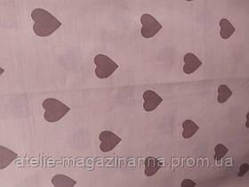 Простирадло євро 220*240 бязь голд бежева з серцами