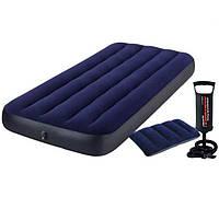 Надувной матрас 76см Intex с одной подушкой и ручным насосом