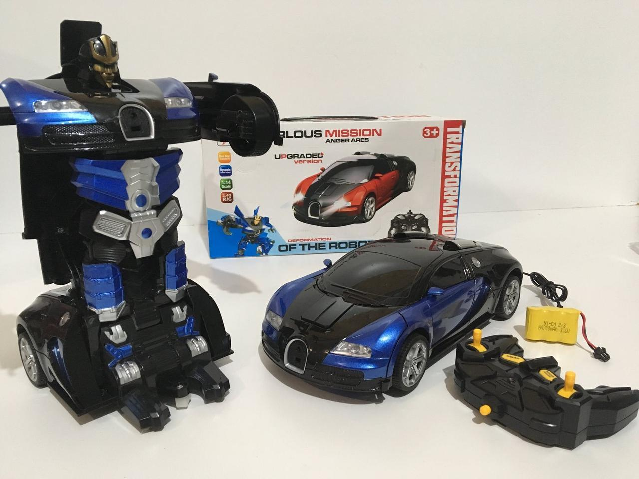 Машинка Трансформер Bugatti Car Robot Size 12 СИНЯ Bugatti Veyron