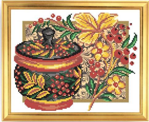 """Рисунок на ткани для вышивания бисером """"Хохлома. Калина"""", фото 2"""