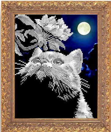 """Рисунок на ткани для вышивания бисером """"""""Кот с веточкой, фото 2"""