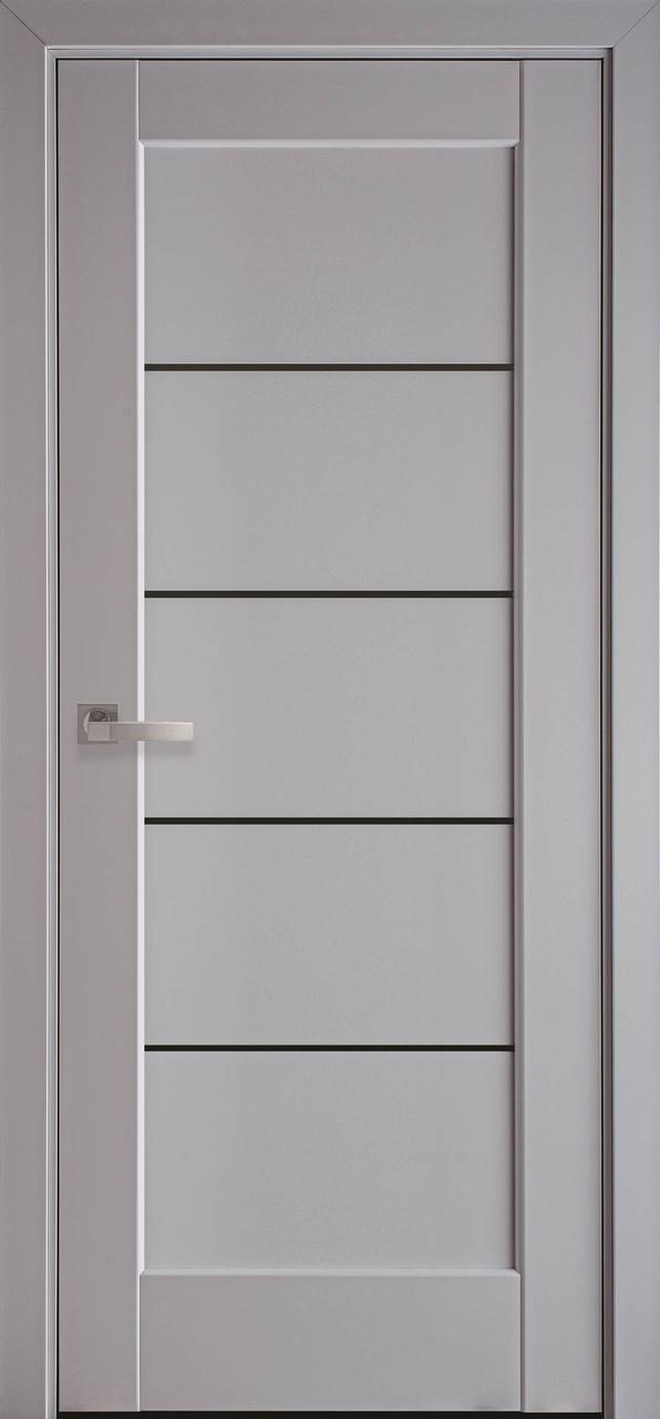 Дверне полотно ПВХ Міра 80 сіра пастель + скло BLK (вітрина)