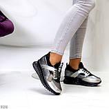 Кроссовки женские никель/ серебро/ бронза с черным натуральная кожа + дайвинг весна/ осень, фото 2