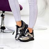 Кроссовки женские никель/ серебро/ бронза с черным натуральная кожа + дайвинг весна/ осень, фото 3