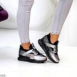 Кроссовки женские никель/ серебро/ бронза с черным натуральная кожа + дайвинг весна/ осень, фото 7