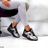 Кроссовки женские никель/ серебро/ бронза с черным натуральная кожа + дайвинг весна/ осень, фото 8
