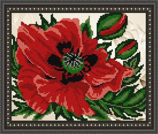 """Рисунок на ткани для вышивания бисером """"Мак"""", фото 2"""