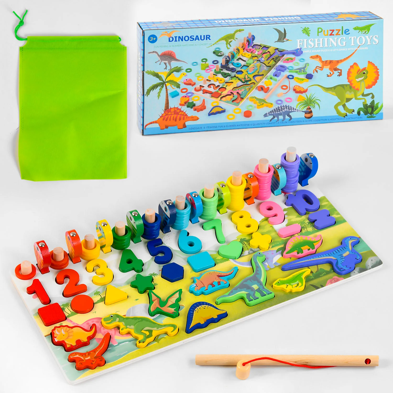 """Логічна гра сортер M 46400 """"Динозаври"""", кілочки, магнітна рибалка. Монтессорі"""