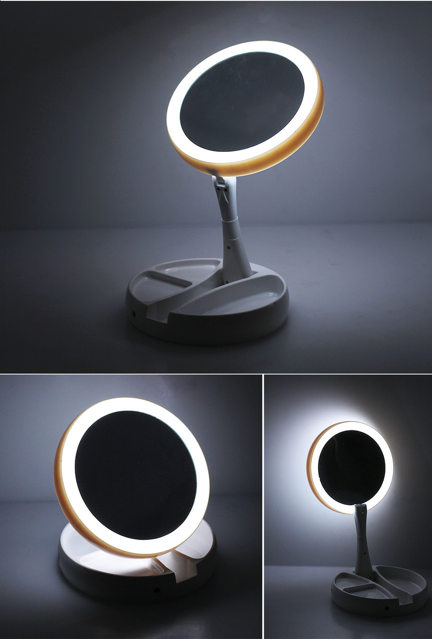 Зеркало косметическое FOLD AWAY круглое  LED подсветка 10x zoom зеркало для макияжа