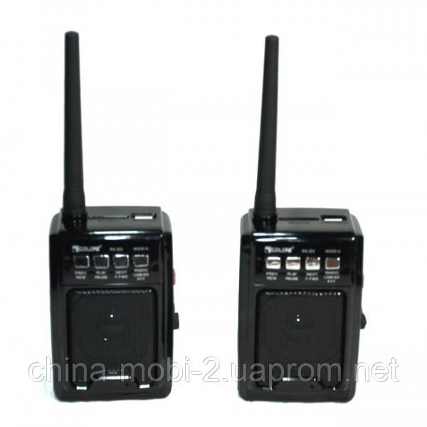 Комплект раций PTT с FM приемником, GOLON RX-D3  MP3 USB SD FM рация