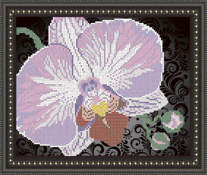 """Рисунок на ткани для вышивания бисером """"Орхидея на черном"""""""