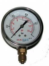 Манометр радіальний гліцериновий вібростійкій) (0 - 25 Бар) ф63мм в нерж. корпусі