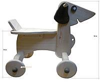 Деревянная Каталка Собака неокрашенная ДУ017 Руди