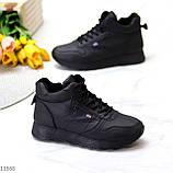 Высокие женские кроссовки- хайтопы черные эко кожа, фото 2