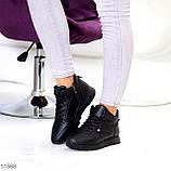 Высокие женские кроссовки- хайтопы черные эко кожа, фото 4