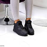 Высокие женские кроссовки- хайтопы черные эко кожа, фото 5