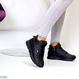 Высокие женские кроссовки- хайтопы черные эко кожа, фото 6