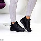 Высокие женские кроссовки- хайтопы черные эко кожа, фото 8