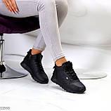 Высокие женские кроссовки- хайтопы черные эко кожа, фото 9