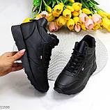 Высокие женские кроссовки- хайтопы черные эко кожа, фото 10