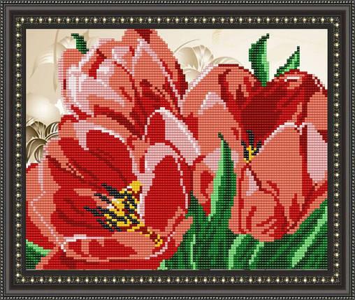 """Рисунок на ткани для вышивания бисером """"Тюльпан"""", фото 2"""
