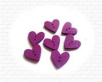 Пуговицы сердечки фиолетовые 20мм