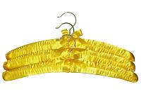 Атласные жёлтые плечики 385мм с бантиком