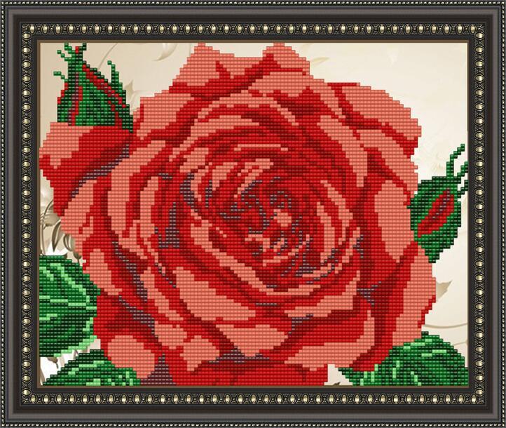 """Рисунок на ткани для вышивания бисером """"Роза"""""""