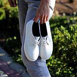 Стильные туфли женские белые на шнурках натуральная кожа, фото 3