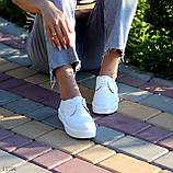 Стильные туфли женские белые на шнурках натуральная кожа, фото 4
