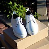 Стильні туфлі жіночі білі на шнурках натуральна шкіра, фото 2