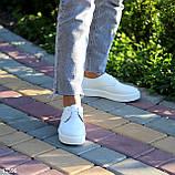 Стильные туфли женские белые на шнурках натуральная кожа, фото 5