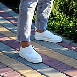Стильные туфли женские белые на шнурках натуральная кожа, фото 7