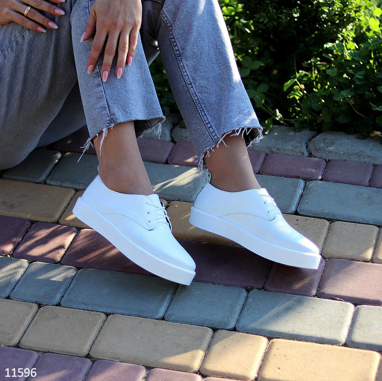 Стильные туфли женские белые на шнурках натуральная кожа
