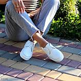 Стильные туфли женские белые на шнурках натуральная кожа, фото 6
