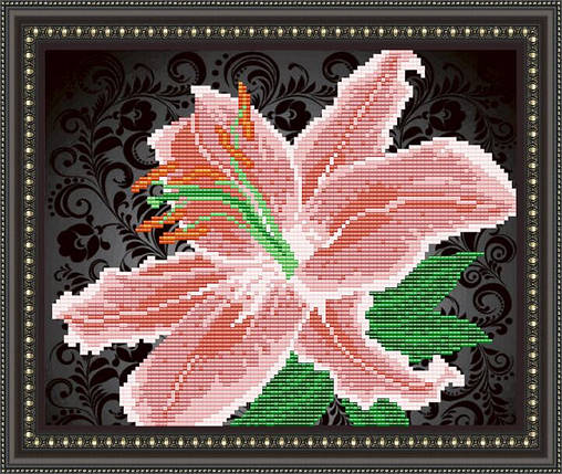 """Рисунок на ткани для вышивания бисером """"Лилия на черном"""", фото 2"""