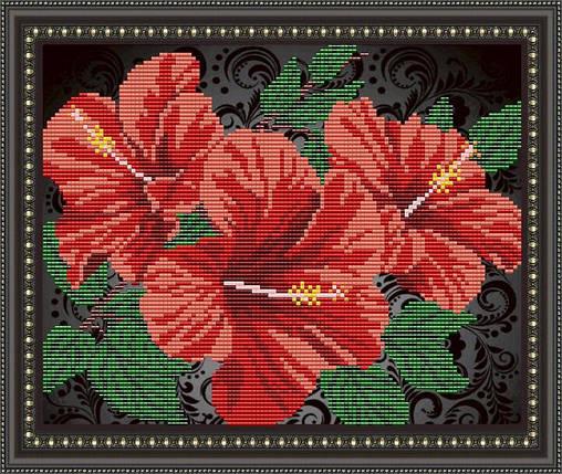 """Рисунок на ткани для вышивания бисером """"Гибискус на черном"""", фото 2"""