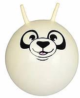 Детский гимнастический мяч для фитнеса с рожками 45 см Profit, белый с рисунком