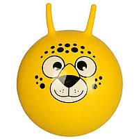 Детский гимнастический мяч для фитнеса с рожками 45 см Profit, желтый с рисунком