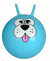 Детский гимнастический мяч для фитнеса Profit с рожками, диаметр 55 см, голубой с рисунком