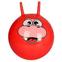 Детский гимнастический мяч для фитнеса Profit с рожками, диаметр 55 см, красный с рисунком