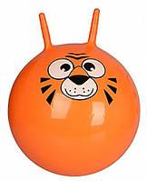 Детский гимнастический мяч для фитнеса Profit с рожками, диаметр 55 см, оранжевый с рисунком