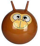 Детский гимнастический мяч для фитнеса Profit с рожками, диаметр 55 см, коричневый с рисунком