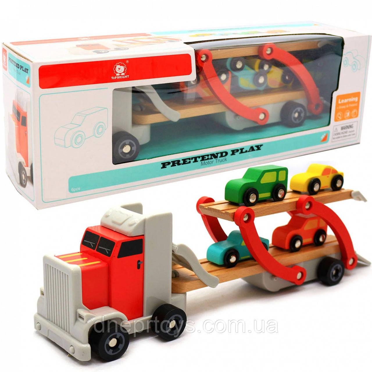 Дерев'яна іграшка Автовоз Top Bright перевізник 40х8х12 см (трейлер, 4 машинки) 120327