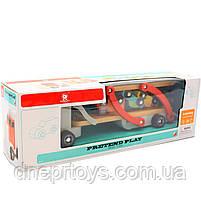 Дерев'яна іграшка Автовоз Top Bright перевізник 40х8х12 см (трейлер, 4 машинки) 120327, фото 8