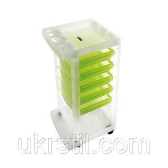 Парикмахерская тележка Oscar Ice прозрачная с зелеными ящиками
