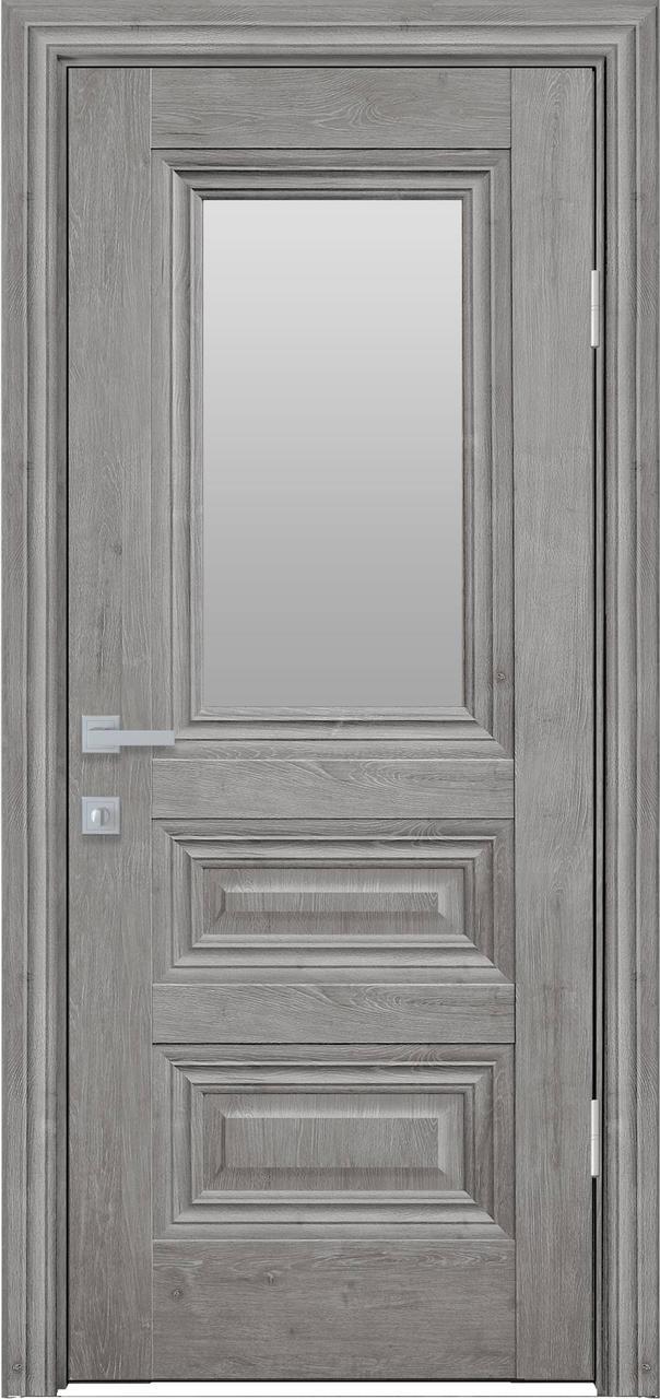 Дверне полотно ПВХ Камілла ЄкоВуд 80 горіх скандин.+ скло (вітрина)