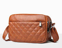 Женская сумка коричневая небольшая на молнии