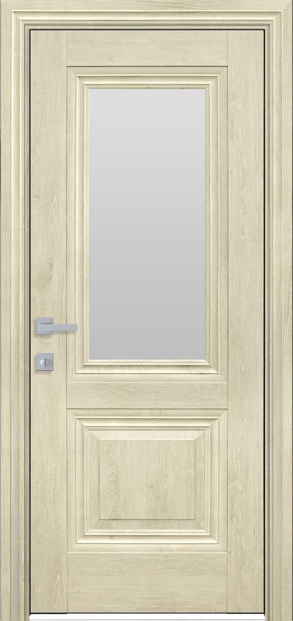 Дверне полотно ПВХ Канна ЄкоВуд 80 горіх гимал.+ скло (вітрина)