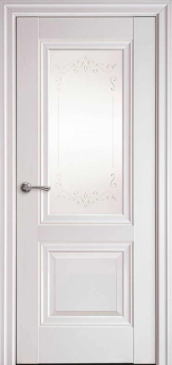 Дверне полотно Імідж преміум єлегант біла матова 80 п/о  (R+2) з молдингом (Вітрина)